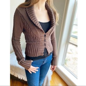 Free People Fitted Cropped Collared Cardigan Brown